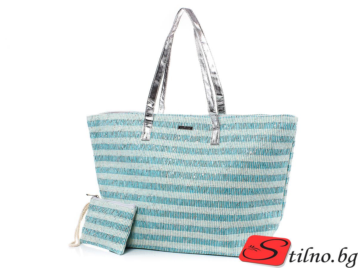 Плажна чанта с Портмоне  5074-26 - Светлосин